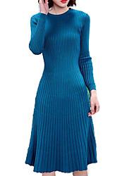 baratos -Mulheres Para Noite Tricô Vestido Cintura Alta Médio