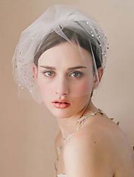 abordables -Une couche Style vintage / Style classique Voiles de Mariée Voiles Blush avec Paillette Brillante / Couleur Unie Tulle