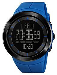 Недорогие -SKMEI Муж. Спортивные часы Армейские часы электронные часы Японский Цифровой Стеганная ПУ кожа Черный / Синий / Красный 50 m Будильник Секундомер С двумя часовыми поясами Цифровой На каждый день Мода