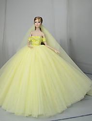 Недорогие -Платья Платье Для Кукла Барби Светло-желтый Тюль / Кружево / Шелково-шерстяная ткань Платье Для Девичий игрушки куклы