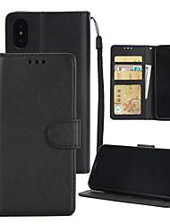 Недорогие -Кейс для Назначение Apple iPhone XS / iPhone XR Кошелек / со стендом / Флип Чехол Однотонный Твердый Кожа PU для iPhone XS / iPhone XR / iPhone XS Max