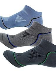 Недорогие -Компрессионные носки Спортивные носки / спортивные носки Носки для велоспорта Муж. Велоспорт Воздухопроницаемость 3 пары В полоску Хлопок Другое Темно-серый Синий Серый Один размер / Эластичная
