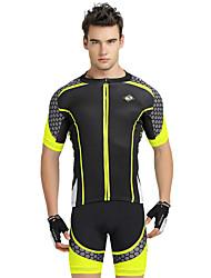 billiga -Nuckily Herr Kortärmad Cykeltröja med shorts - Gul Geometrisk Cykel Shorts / Tröja / Klädesset, UV-Resistent, Andningsfunktion, Reflexremsa Polyester Lappverk / SBS Blixtlås