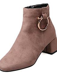 Недорогие -Жен. Fashion Boots Замша Осень На каждый день Ботинки Блочная пятка Сапоги до середины икры Черный / Хаки