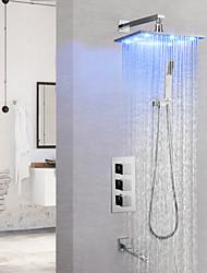 Недорогие -Смеситель для душа / Ванная раковина кран - Современный Хром На стену Медный клапан Bath Shower Mixer Taps / Латунь / Одной ручкой четыре отверстия