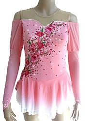baratos -Vestidos para Patinação Artística Mulheres / Para Meninas Patinação no Gelo Vestidos Rosa claro Flor Detalhes e Estampas Elastano Micro-Elástica Profissional / Concorrência Roupa para Patinação