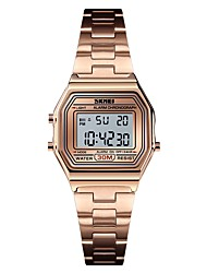 Недорогие -SKMEI Жен. Спортивные часы Армейские часы Цифровой 30 m Будильник Календарь Секундомер Нержавеющая сталь Группа Цифровой На каждый день Мода Серебристый металл / Золотистый / Розовое золото -