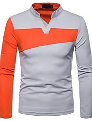 Недорогие -мужская футболка / поло - цветной блок v шея