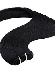 billige -1 Bundle Indisk hår Lige Menneskehår Vævning 20 inch Menneskehår Vævninger Maskinproduceret Lugtfri / Dame / Ekstention Mørkebrun Blond Menneskehår Extensions Dame