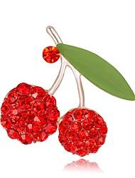 baratos -Mulheres Fashion / 3D Broches - Chapeado Dourado Flor, Fruta Estiloso, Original Broche Vermelho Para Festa de Noite / Rua