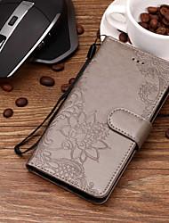 baratos -Capinha Para Samsung Galaxy S9 Plus / S9 Porta-Cartão / Com Relevo / Estampada Capa Proteção Completa Flor Rígida PU Leather para S9 / S9 Plus / S8 Plus
