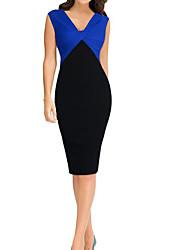 Недорогие -Жен. Офис Тонкие Оболочка Платье - Однотонный V-образный вырез Выше колена