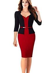 Недорогие -Жен. Офис Классический Тонкие Оболочка Платье - Однотонный До колена / Сердцевидный вырез