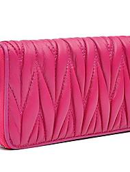お買い得  -女性用 バッグ 合皮 財布 ジッパー 純色 ブラック / パープル / フクシャ