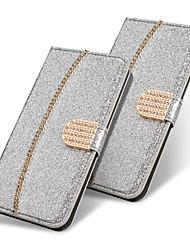 baratos -Capinha Para Samsung Galaxy S9 Plus / S8 Plus Carteira / Porta-Cartão / Com Strass Capa Proteção Completa Sólido / Glitter Brilhante / Strass Rígida PU Leather para S9 / S9 Plus / S8 Plus