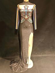 baratos -Fantasia de Dança Roupas de Dança Exótica / Body de Strass Mulheres Espetáculo Elastano Com Fenda / Cristal / Strass Manga Longa Vestido