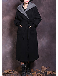 cheap -Women's Wool Coat - Color Block