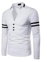 Недорогие -Муж. Polo Рубашечный воротник Тонкие Контрастных цветов / Длинный рукав