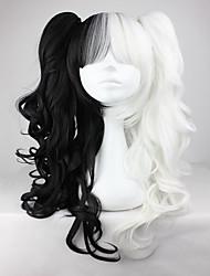 billiga -Syntetiska peruker / Kostymperuker Vågigt Syntetiskt hår Flätad peruk / Afrikanska flätor Vit Peruk Dam Utan lock Svart / Vit
