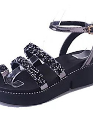 abordables -Femme Toe Ring Polyuréthane Eté Sandales Creepers Bout rond Strass Noir / Argent