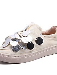 Недорогие -Жен. Комфортная обувь Эластичная ткань Осень На каждый день Мокасины и Свитер На плоской подошве Пайетки Черный / Бежевый / Повседневные