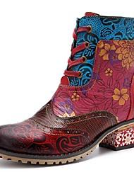 Недорогие -Жен. Комфортная обувь Кожа Зима Ботинки На низком каблуке Сапоги до середины икры Красный