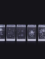 Недорогие -куб кристалл 3d лазерный гравировка роз цветок куб украшения стеклянная миниатюра для любви подарки домашний декор случайный