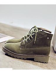Недорогие -Жен. Армейские ботинки Микроволокно Наступила зима Английский На плокой подошве Для прогулок На низком каблуке Круглый носок Сапоги до середины икры Ленты Зеленый