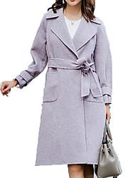 Недорогие -Жен. Повседневные Классический Наступила зима Длинная Пальто, Однотонный Отложной Длинный рукав Полиэстер Светло-голубой S / M