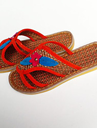 Недорогие -Жен. Комфортная обувь Хлопок Лето На каждый день Тапочки и Шлепанцы На плоской подошве Заклепки Синий
