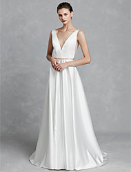 cheap -A-Line Plunging Neck Court Train Satin Made-To-Measure Wedding Dresses with Crystal Brooch by LAN TING BRIDE® / Beautiful Back
