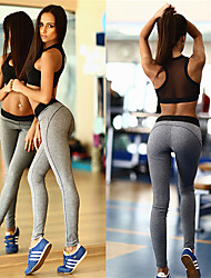 cheap -Women's See Through 2pcs Yoga Suit - Grey Sports Color Block Spandex, Mesh Bra Top / Skinny Pants Dance, Running, Fitness Activewear 3D Pad, Breathable, Butt Lift Stretchy Skinny