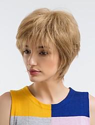 cheap -Human Hair Capless Wigs Human Hair Straight Pixie Cut Natural Hairline Blonde Capless Wig Women's Daily Wear