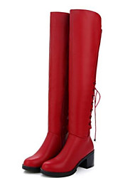 cheap -Women's Fashion Boots PU(Polyurethane) Winter Boots Chunky Heel Knee High Boots Black / Gray / Red