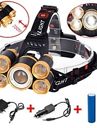 Недорогие -Налобные фонари огни безопасности Фары для велосипеда 8000 lm Светодиодная лампа LED 5 излучатели 4.0 Режим освещения с батареей и зарядным устройством Водонепроницаемый Портативные Регулируется