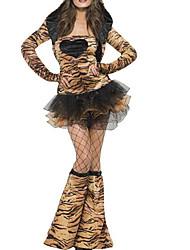 Недорогие -Кошка Платья Жен. Взрослые Секси Хэллоуин Хэллоуин Карнавал Маскарад Фестиваль / праздник Инвентарь Коричневый Леопардовый принт