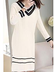 baratos -Mulheres Básico Tricô Vestido Sólido Decote V Altura dos Joelhos