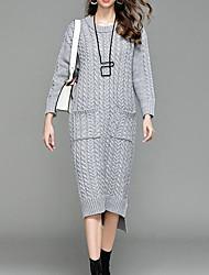 baratos -Mulheres Sofisticado Tricô Vestido Sólido Médio