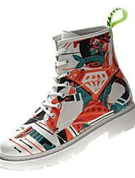 Недорогие -Жен. Армейские ботинки Полиуретан Осень На каждый день Ботинки На низком каблуке Сапоги до середины икры Белый / Контрастных цветов