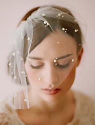 abordables -Une couche Style vintage / Style classique Voiles de Mariée Voiles Blush avec Perle fausse / Couleur Unie Tulle