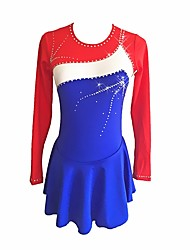 cheap -Figure Skating Dress Women's / Girls' Ice Skating Dress Blue Spandex Micro-elastic Performance / Professional Skating Wear Floral / Botanical / Fashion / Rhinestone Long Sleeve Latin Dance / Folk