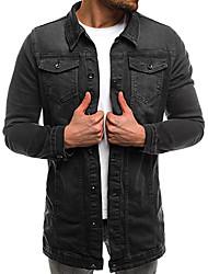 cheap -Men's Basic Denim Jacket - Solid Colored