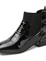 Недорогие -Жен. Армейские ботинки Полиуретан Осень Ботинки Блочная пятка Квадратный носок Черный