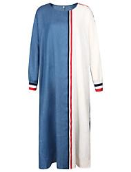 baratos -Mulheres Algodão Reto Vestido Longo