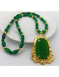 Недорогие -Муж. Изумруд 3D Ожерелья с подвесками - Золотистый Креатив Художественный, Шинуазери (китайский стиль) Темно-зеленый 55 cm Ожерелье Бижутерия 1шт Назначение Свадьба, Повседневные