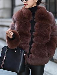 billiga -Dam Arbete / Fest / cocktail Streetchic / Sofistikerat Vinter Plusstorlekar Normal Fur Coat, Enfärgad / Randig Rund hals Långärmad Fuskpäls / Elastan Brun / Grå / Purpur XL / XXL / XXXL / Sexig