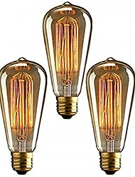 Недорогие -3шт 40 W E26 / E27 ST64 Тёплый белый 2200-2700 k Ретро / Диммируемая / Декоративная Лампа накаливания Vintage Эдисон лампочка 220-240 V