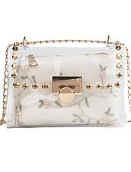 お買い得  -女性用 バッグ PVC ショルダーバッグ ジッパー グリーン / ホワイト / ピンク