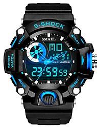Недорогие -SMAEL Муж. Спортивные часы электронные часы Японский Цифровой Черный 30 m Защита от влаги Календарь Хронометр Аналого-цифровые Мода - Черный / Красный Черный / Синий / Фосфоресцирующий