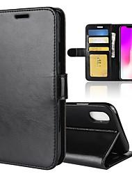 Недорогие -Кейс для Назначение Apple iPhone XS / iPhone XS Max Кошелек / Бумажник для карт / Флип Чехол Однотонный Твердый Кожа PU для iPhone XS / iPhone XR / iPhone XS Max